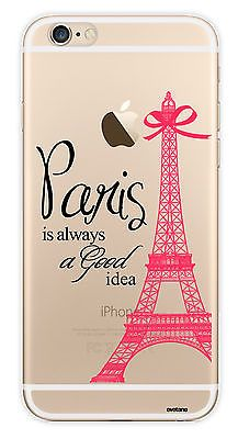 Coque de protection paris transparente et rose Apple iPhone 6/6S