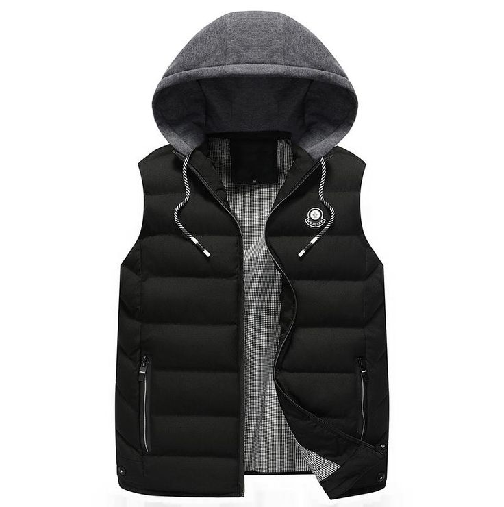 Men's Vest Fashion Winter Sleeveless Jackets Men Autumn Hooded Waistcoats Coletes Masculino Casual Wear Cotton Vesta for Male