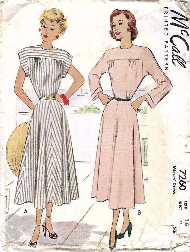 "Vintage 1940's Sewing Pattern Buttoned Yoke Dress Bust 34"" Rare  #McCalls"