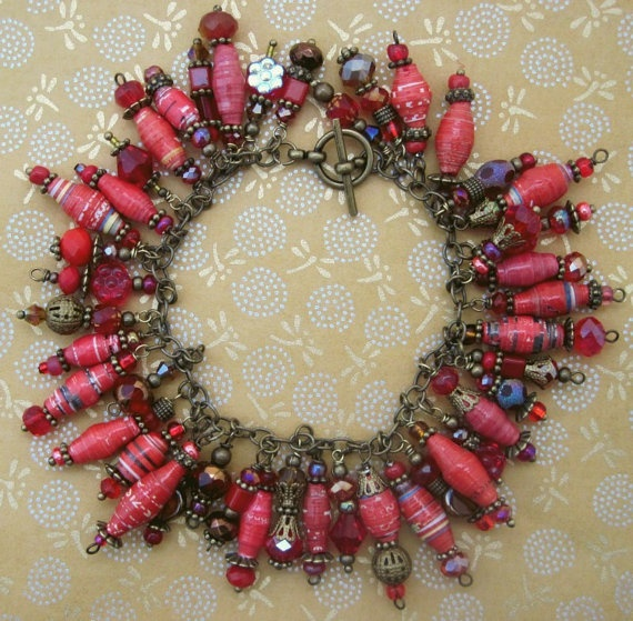 Crimson Red Bronze Paper Bead Cha Cha Charm Bracelet by tee007, $30.00