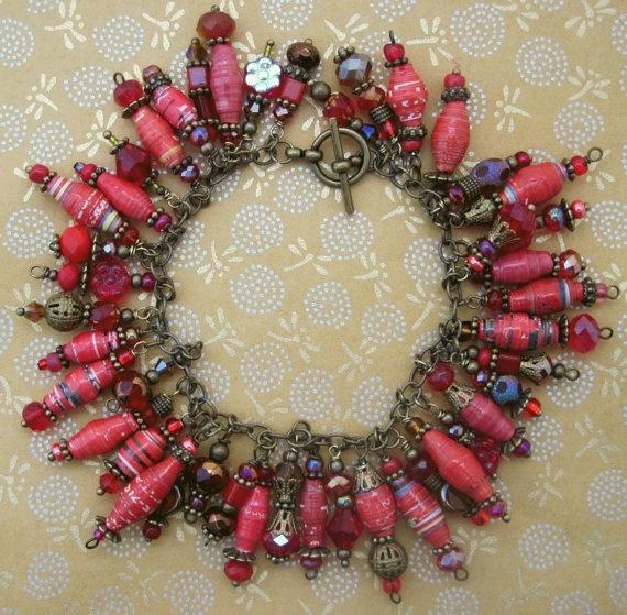 Crimson Red Bronze Paper Bead Cha Cha Charm Bracelet by tee007, $30.00