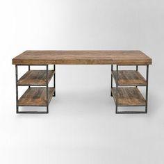 escritorio moderno de madera y hierro rustico madera gruesa