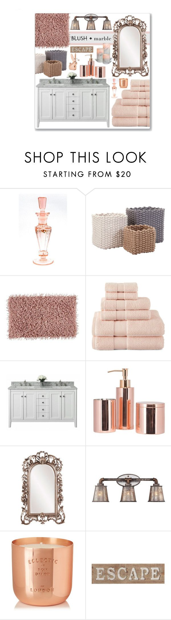 """Blush & Marble Bathroom"" by leanne-mcclean ❤ liked on Polyvore featuring interior, interiors, interior design, home, home decor, interior decorating, Aquanova, Liz Claiborne, Howard Elliott and Pacific Coast"