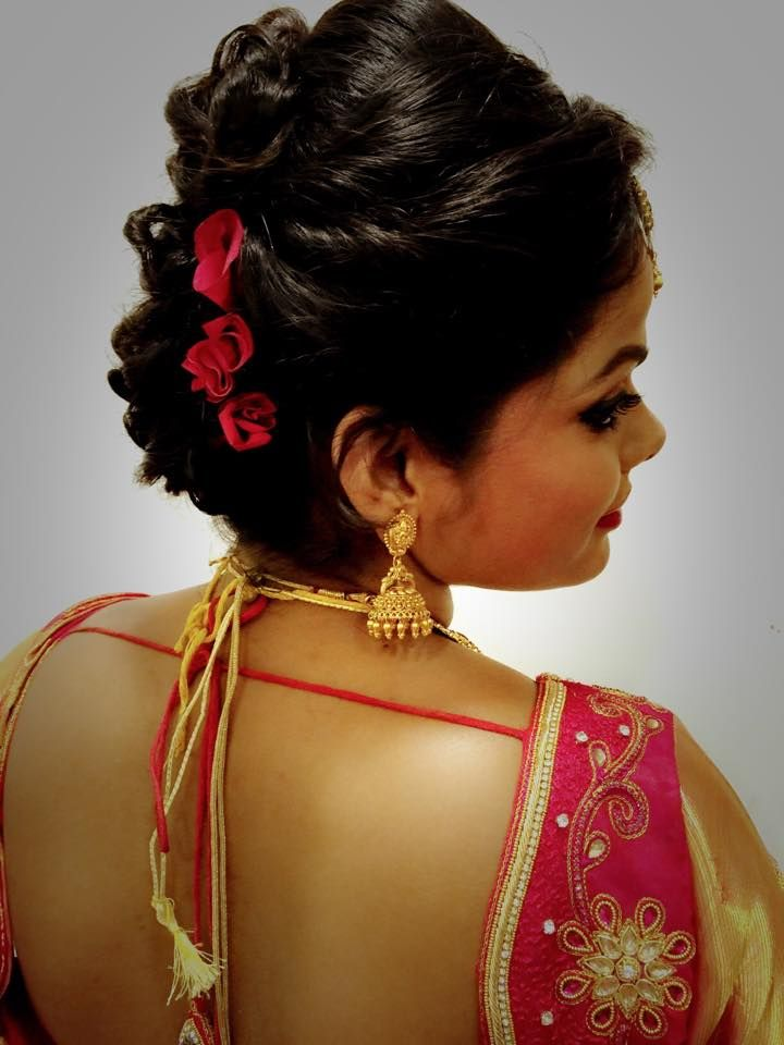 Indian bride's bridal reception hairstyle by Swank Studio. Find us at https://www.fa… | Indian ...