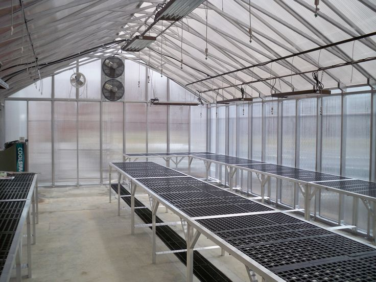 Check out this nicely laid out Greenhouse interior. It has our benches, 4-bulb T5 light fixtures and a custom misting/dripping system! Dont know where to start? Call 888-437-0022.