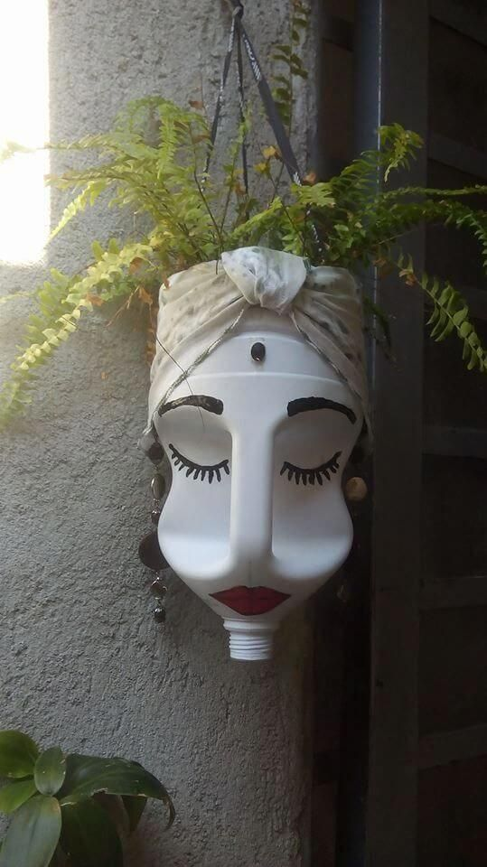 Turn an empty bleach bottle into a unique face sculpture and planter! Use Rigid …