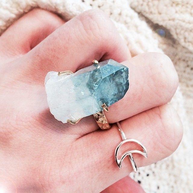 Aukai aqua aura raw crystal ring
