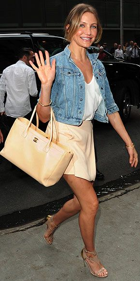 Cameron Diaz + Chanel + denim jacket = casual chic.