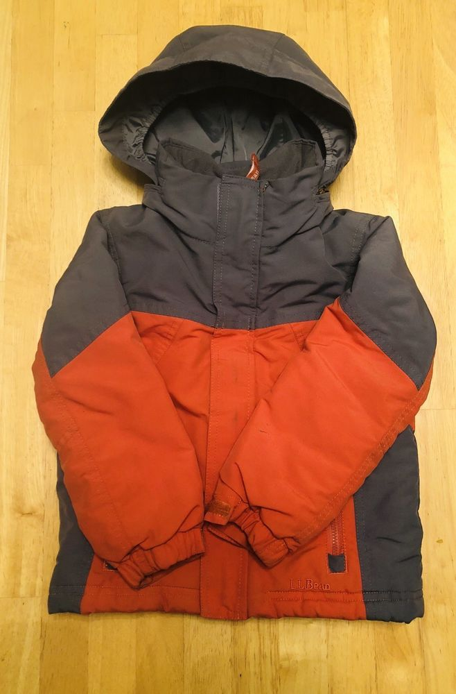 4540c5293 BOYS LL BEAN Orange Gray THINSULATE INSULATED HOODED WINTER COAT ...