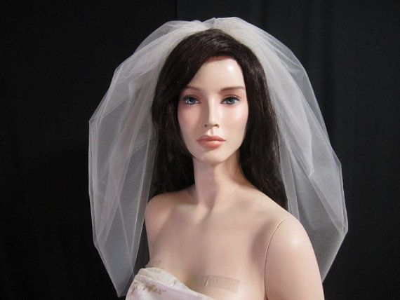 25 inch elbow length puffy bubble veil bridal veil by terihuang, $43.00