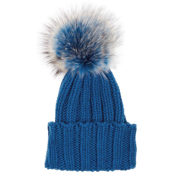 Inverni Blue Cashmere Fur Bobble Hat ($240) ❤ liked on Polyvore featuring accessories, hats, bobble beanie, fox hats, bobble hat, inverni hats and fur bobble hat
