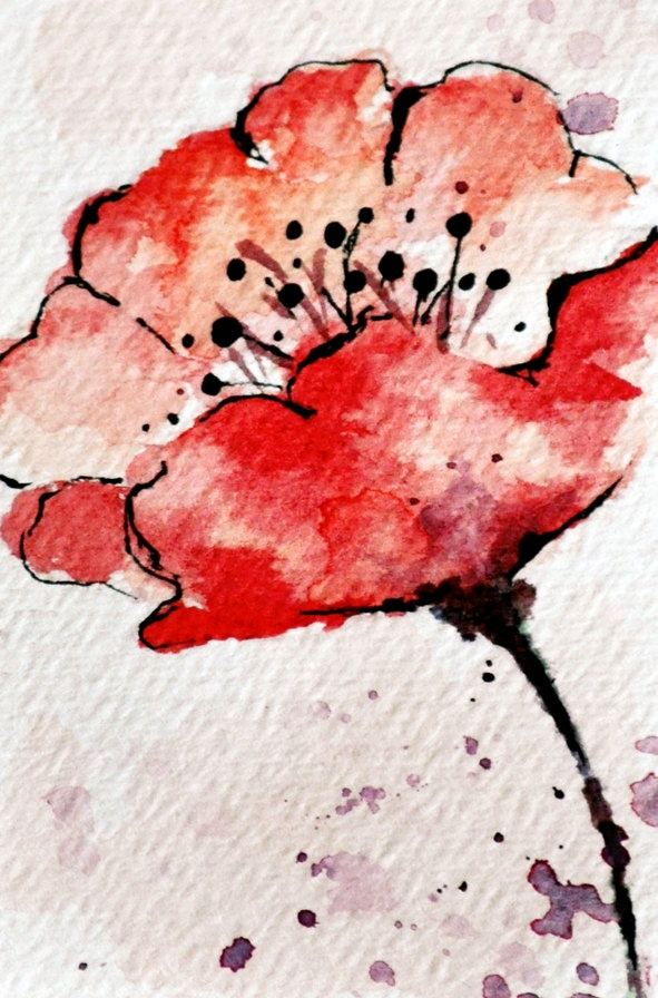 Poppy 3 - original watercolor ACEO painting , 2,5x3,5 inch. $15.00, via Etsy.