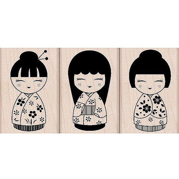 Three Japanese Dolls Rubber Stamps Woodblock by myrubberstamp, $13.50