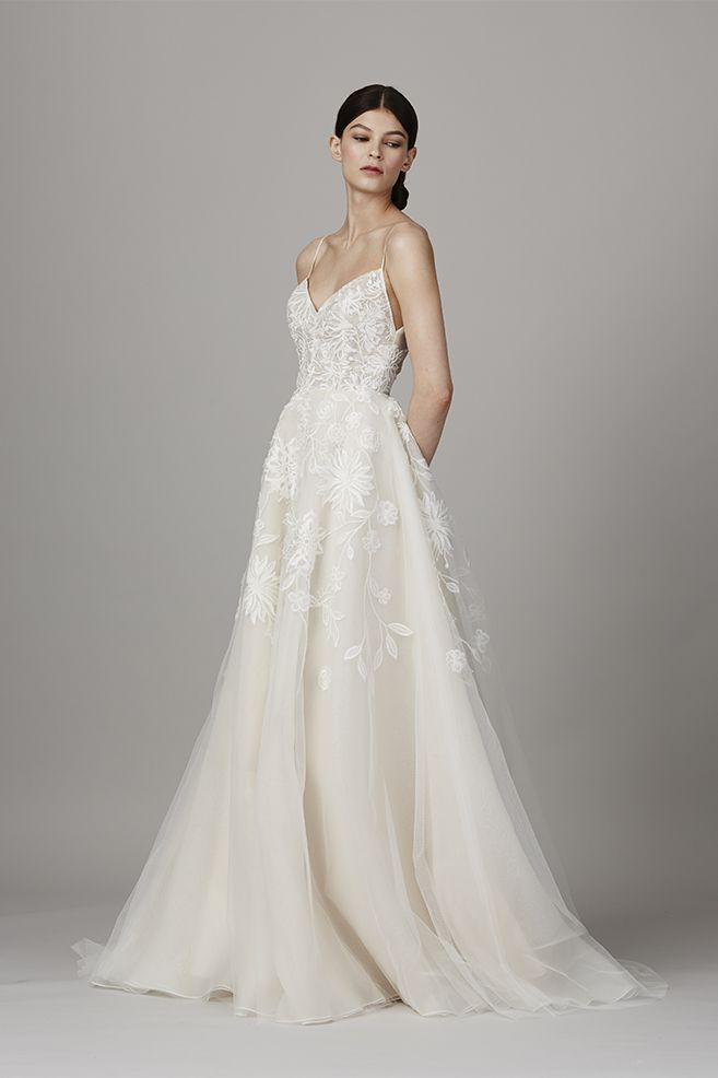 Placement embroidered tulle gown with ballerina bodice.