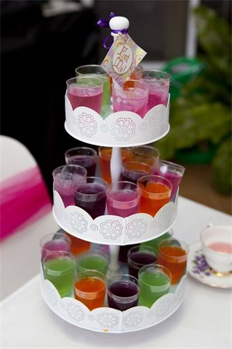 rainbow jelly in plastic shot glasses - add short straws  kids LOVE these.  Make triple quantities