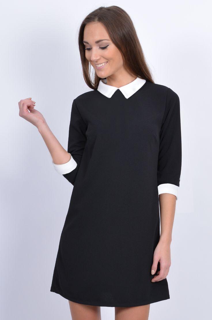Czarna Sukienka Z Bialym Kolnierzykiem | Sukienka z białym kołnierzykiem - Cocomoda.pl - odzież damska...