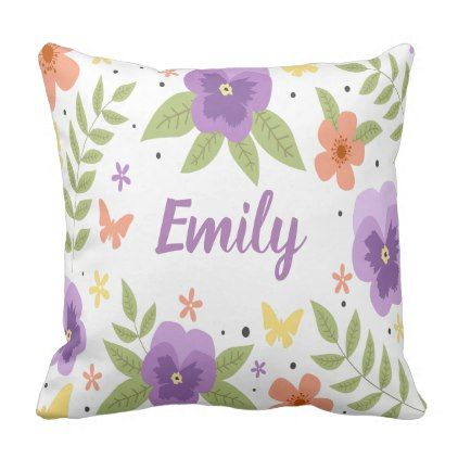 Flower Pansy Floral Butterfly Leaves Purple Yellow Throw Pillow - flowers floral flower design unique style