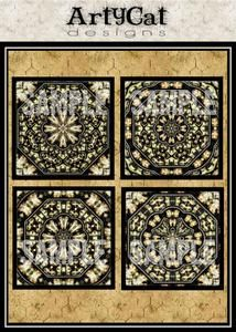 Geometric and interesting detail in patterned images for digital collages, decoupage 4 inch sized set of squares in black and white with antiqued brown colors. #Decoupage #SquareImages #AlteredArt #Downloadable #CollageElements