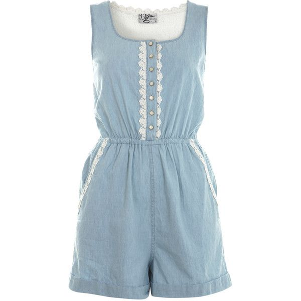 Crochet Back Denim Playsuit (£24) ❤ liked on Polyvore featuring jumpsuits, rompers, dresses, playsuits, jumpsuit, jumpsuits & rompers, playsuit jumpsuit, blue rompers, miss selfridge and jump suit