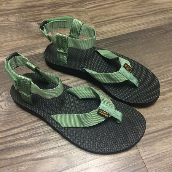 Teva Original Sandal (stone green) Teva Original Sandals in stone green perfect for your next outdoor adventure whether hiking, water sports, or minimalist wear to school! Worn once Teva Shoes Sandals
