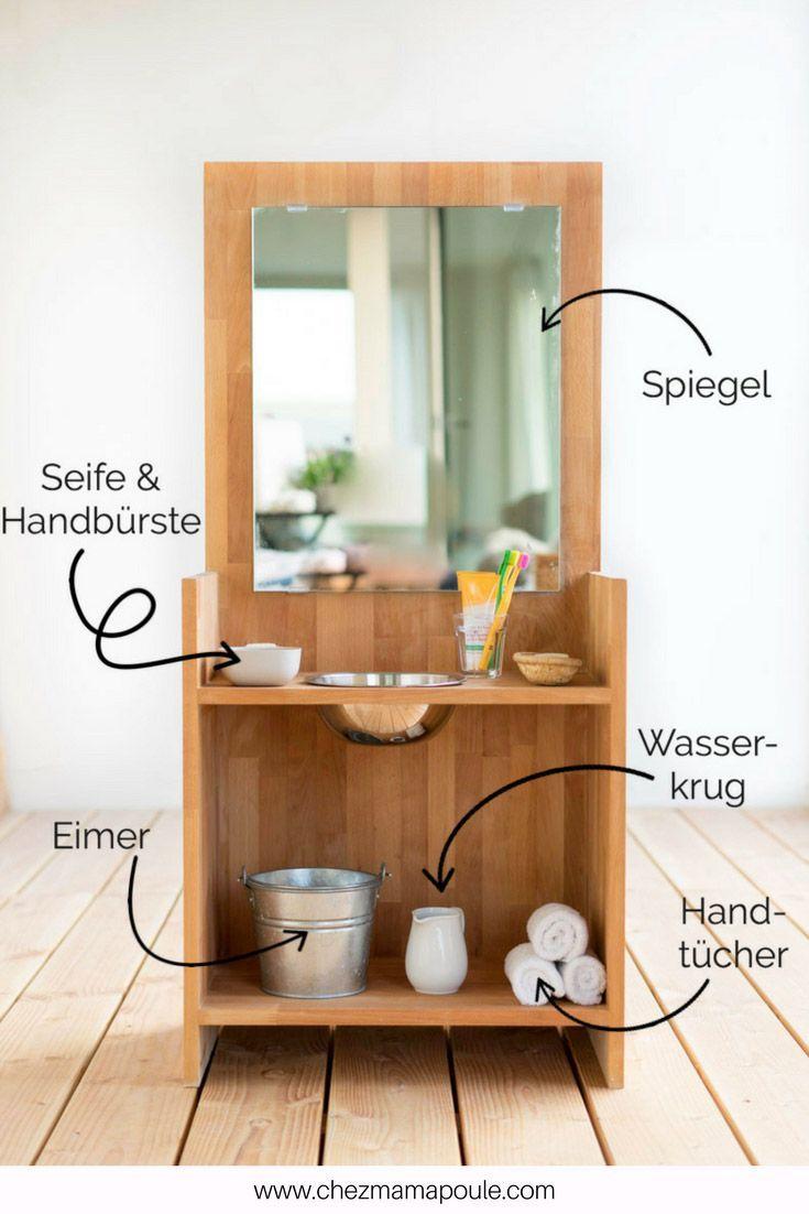 Diy Montessori Waschtisch Oder Zahneputzen Ohne Kampf Diy Kampf Montessoriwaschtisch Oder Ohne Waschtisch Kinder Holz Kinder Badezimmer