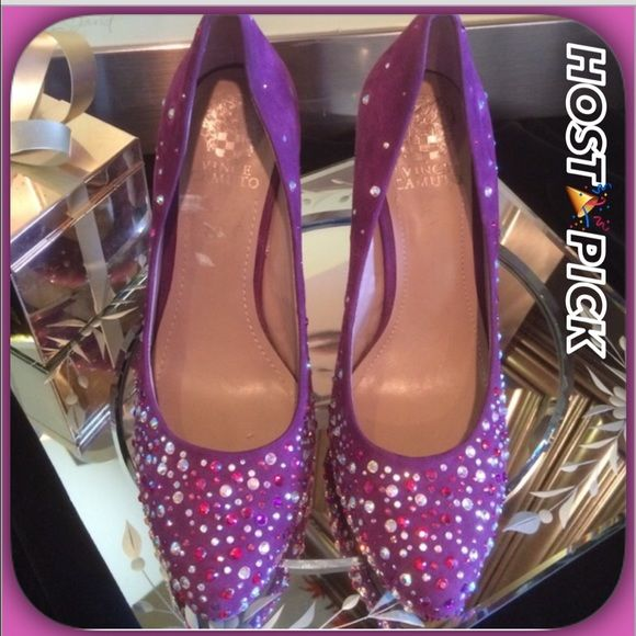 Vince Camuto Gorgeous Purple Suede Rhinestone Pump Fabulous Purple Suede Heels with Gorgeous pink/ purple/ red & silver rhinestone detail!  Sumptuous Purple Suede with a 4 1/2 inch heel!  Gently worn!!! 💞💞Stunning Shoes! Vince Camuto Shoes Heels