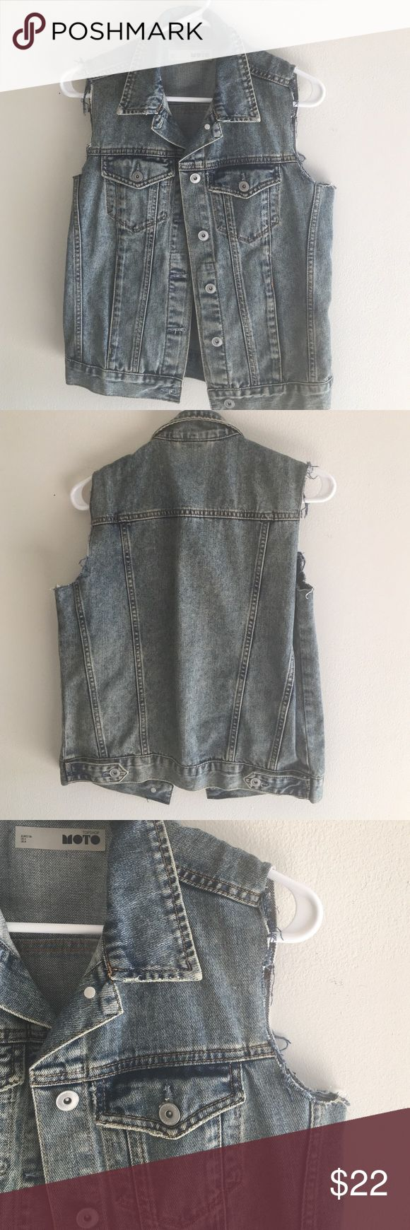 Topshop Moto Sleeveless Denim Jacket Sleeveless denim jacket from Topshop. In excellent condition. Cutoff sleeve detail. Last photo is not the same wash, but is reflective of the fit. US 4/UK 8/EURO 36 (fits like a small) Topshop Jackets & Coats Vests