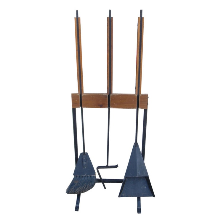 scandinavian teak fireplace tools