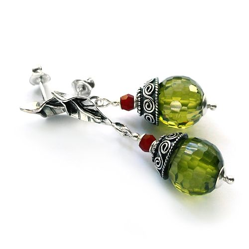 Silver, olivine cubic zirconia and red coral earrings. Silver leaves are so lovely!