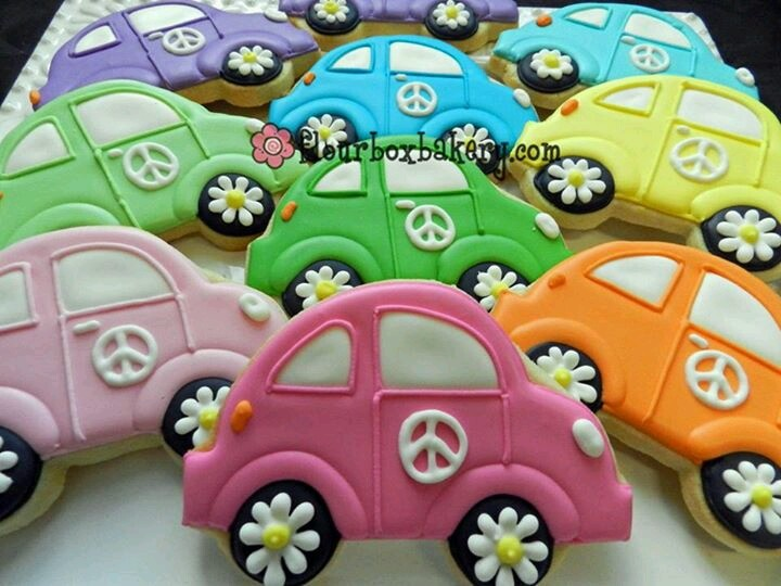 VW Bugs with Daisy Wheels, Peace Symbols by Flour Box Bakery