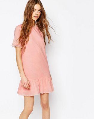 Vestido de velo de algodón con cintura caída en rosa con volante de tul de Vanessa Bruno Athe