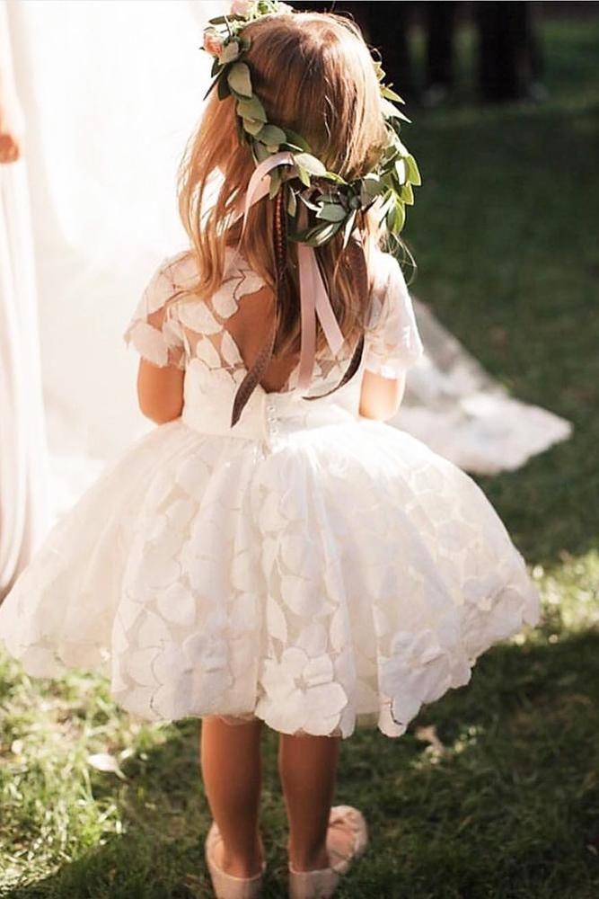 21 Flower Girl Dresses To Create A Magic Look ❤️  flower girl dresses with cap sleeves open back country dolorispetunia⠀ #weddingforward #wedding #bride