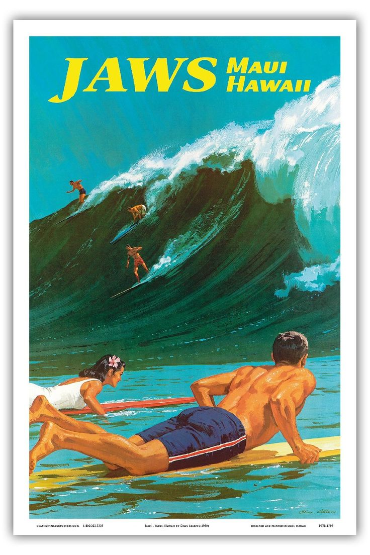 Jaws - Maui, Hawaii - Surf - Vintage Hawaiian Travel Poster by Chas Allen c.1950s - Reproduction Professionelle d'art Master Art Print - 31cm in x 46cm: Amazon.fr: Cuisine & Maison