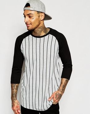 ASOS Longline Long Sleeve T-Shirt With Vertical Stripe And Contrast Sleeve