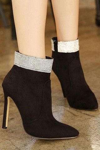 Fashion Sexy Women Pull On Stilettos Pointy Toe Ankle Boots Metallic Zipper Shoe