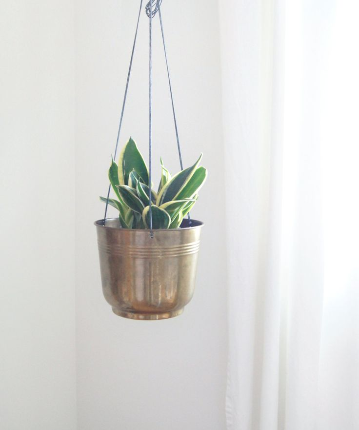 Large Brass Hanging Planter Vintage Gold Metal Pot And