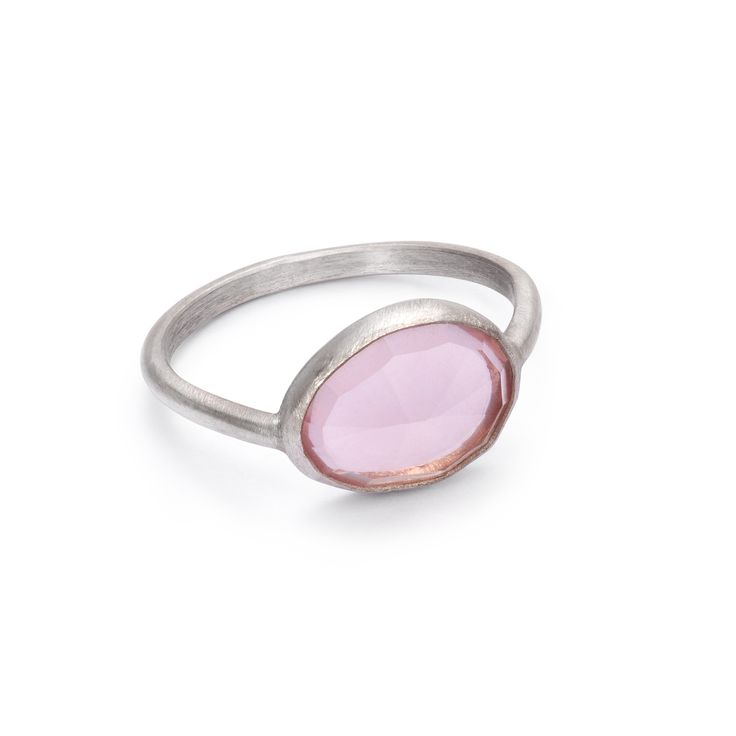 one of a kind silver ring with rose quartz