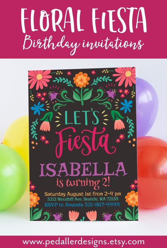 Coco Birthday Invitation Floral Fiesta Party