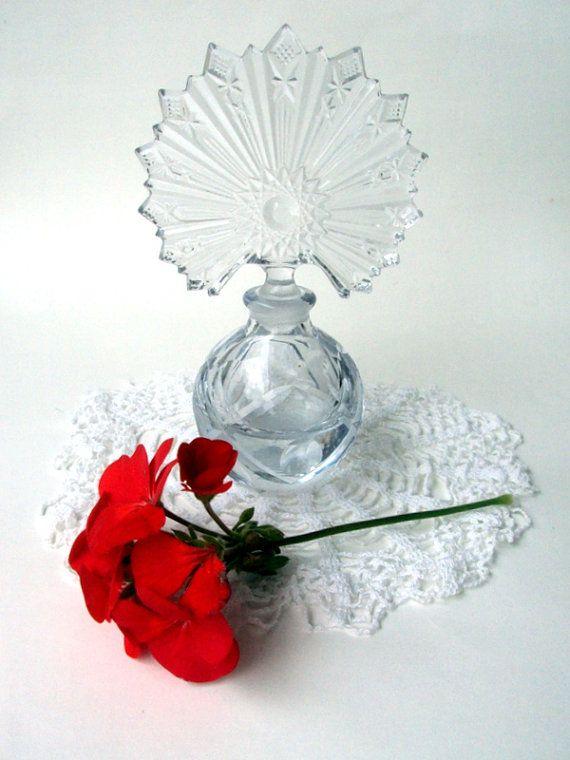 Vintage Perfume Bottle,Hobstar, Starburst, Clear Glass,Vanity, Scent Bottle, Sawtooth, Thumbprint, Ladies Boudoir, Collector, Beauty