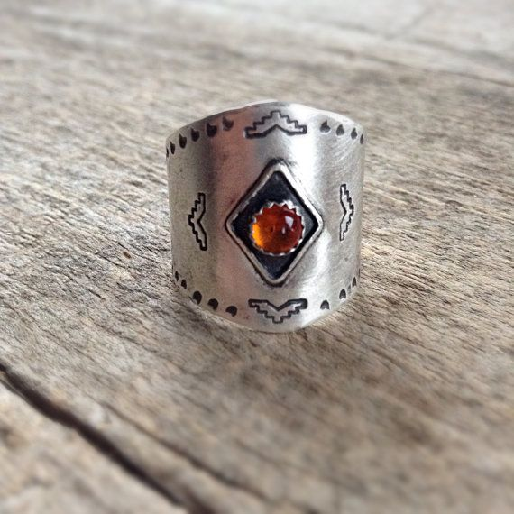 Sterling Silver Ring, Armor Ring Amber Ring, Shield Ring, Aztec Ring, Navajo Inspired, Navajo Jewelry, Southwest Jewelry by TesoroDelSol