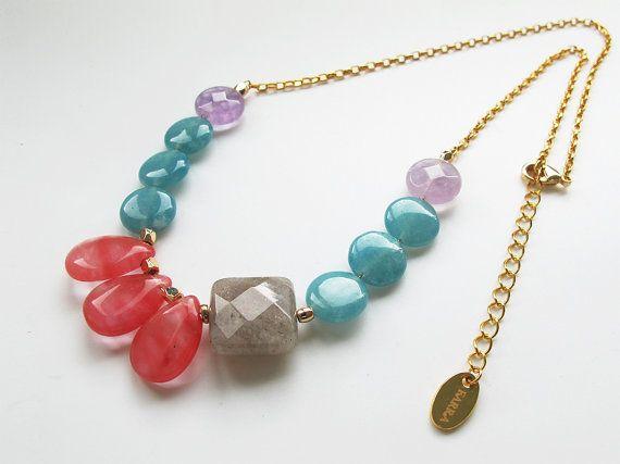 Natural teardrop cherry #quartz, blue quartz, purple #amethyst, #labradorte necklace, candy color gemstone #collarnecklace, FREE shipping #highquality #affordable #freeshipping #bead #beads #gem #gems #gemstone #gemstones #jewelry #jewellery #jewelrymaking #jewelrysupplies #jewelrysupply #etsy #farragem #design #designer #handcrafted #handmade #ring #necklace #earrings #bracelet #pendant