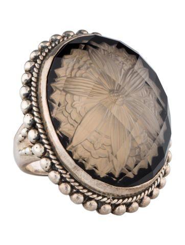 Stephen Dweck Quartz and Carved Rock Crystal Ring
