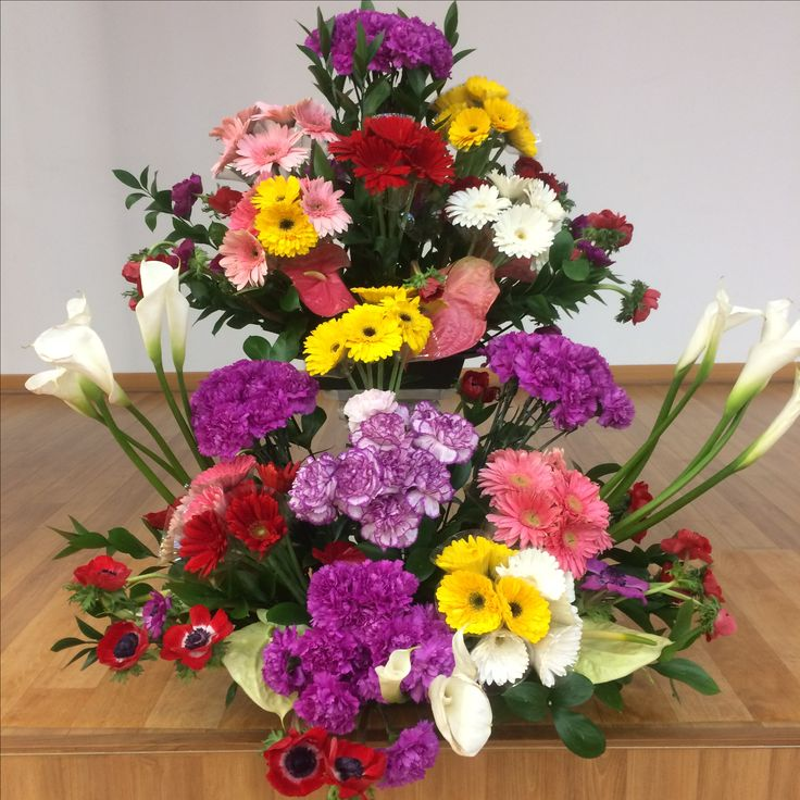 2017.3.19. This week's church flower decoration. Violet color carnations and red color anemones.