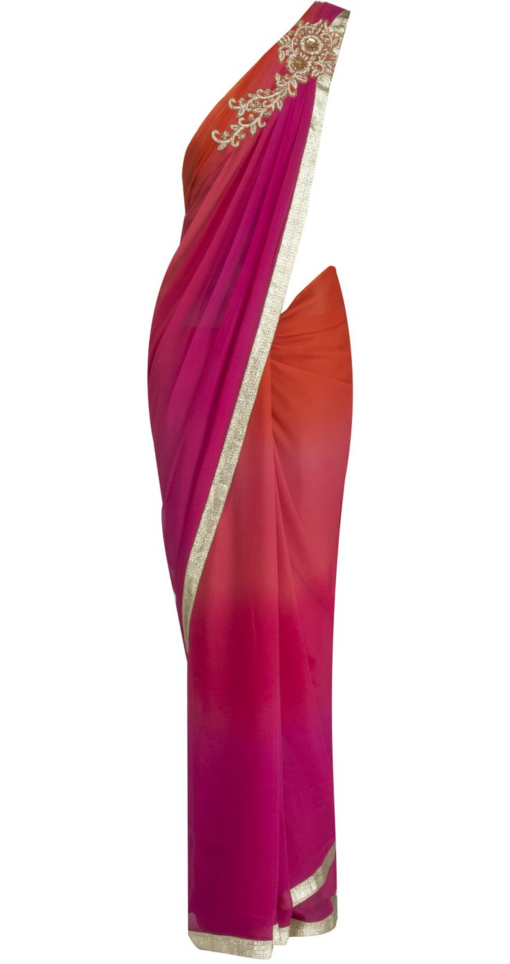 Orange and fuschia ombre sari by SONAL KALRA AHUJA. Shop at https://www.perniaspopupshop.com/whats-new/sonal-kalra-ahuja