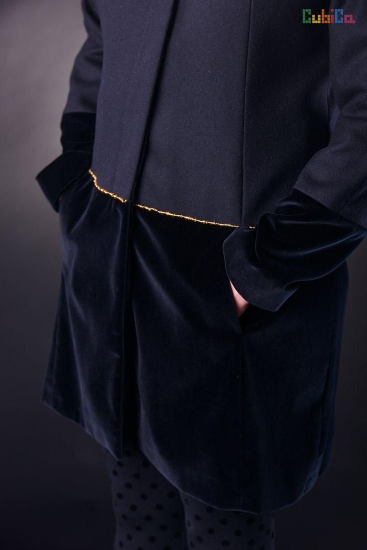 Alena wool & velvet murano collar & waist details CubiCa Peculiar collection