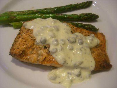 Salmon with creamy lemon caper sauce food pinterest for Lemon butter caper sauce for fish