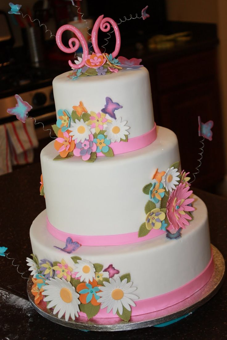 The Good Apple Flowers And Butterflies 90th Birthday Cake