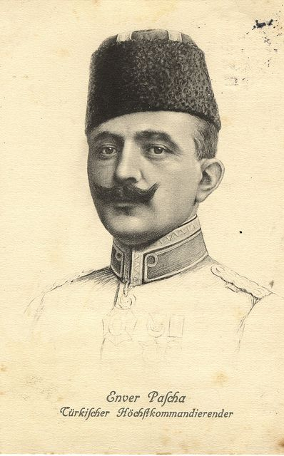 Enver Pasha / Ismail Enver Pasha, an Ottoman military officer, a leader of the Young Turk revolution and one of the principal orchestrators of the Armenian Genocide along with Mehmed Talat, Ahmed Djemal. November 22, 1881, Istanbul, Turkey to August 4, 1922, Turkestan Autonomous Soviet Socialist Republic Spouse: Emine Naciye Sultan (m. 1914–1922) Children: Mahpeyker Enver Hanımsultan, Turkan Enver Hanımsultan, Ali Enver Beyefendi Siblings: Mohammed Kamil Beyefendi