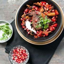 Gránátalmás báránymáj sültzöldség-salátával