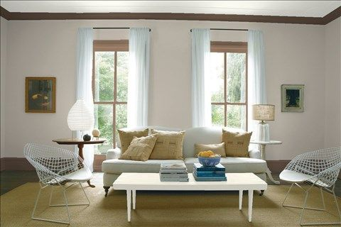 Look at the paint color combination I created with Benjamin Moore. Via @benjamin_moore. Wall: Plymouth Rock 1543; Trim: Sierra Spruce 2108-20; Table: Gray Mist 962; Ceiling: Intense White OC-51.